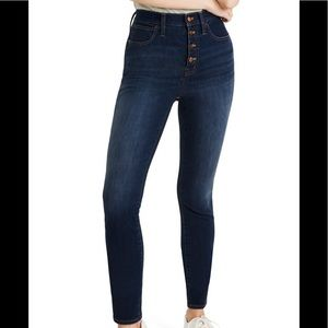 Madewell 10in High waist skinny jeans:button front
